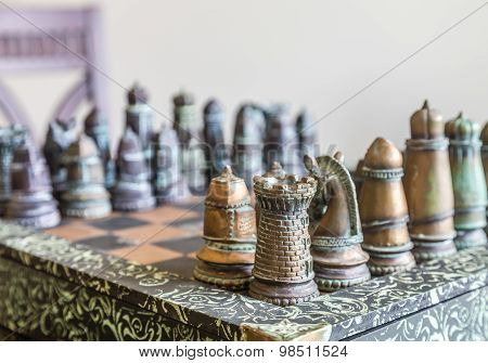 Custom Chess Set In Window Light