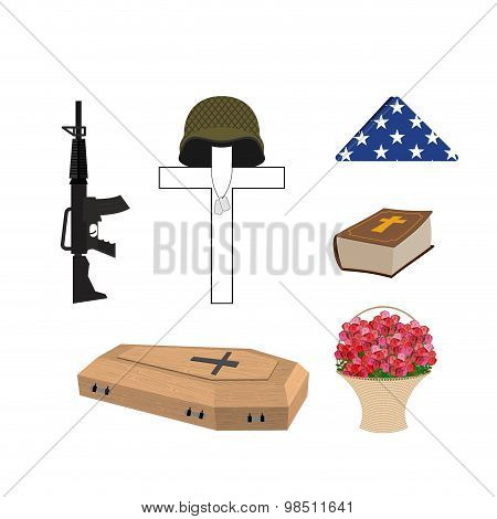 Set For Burial Of The Soldier. Military Funerals. Helmet On Cross.  Bible And Coffin. Machine Gun An