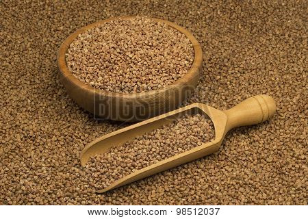 Buckwheat groats in a bowl and wooden scoop