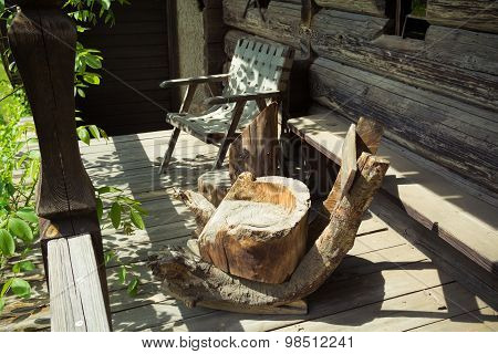 Wooden armchairs.