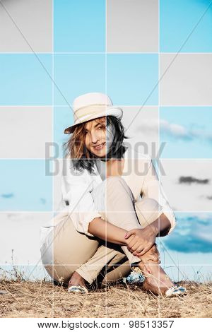 Picture Of Beautiful Caucasian Woman With Hat And Embedded Stylish Black And White Squares