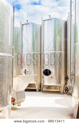 Grape Juice Fermentation Tanks Outdoor