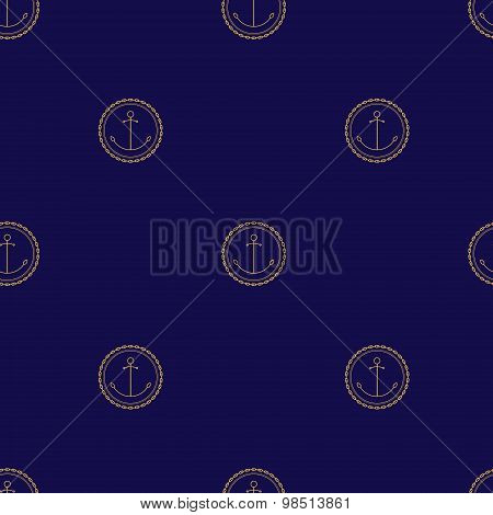 Seamless Pattern with Anchor on a Navy Background