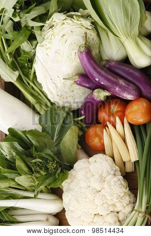 top view group shot of vegetables in a create