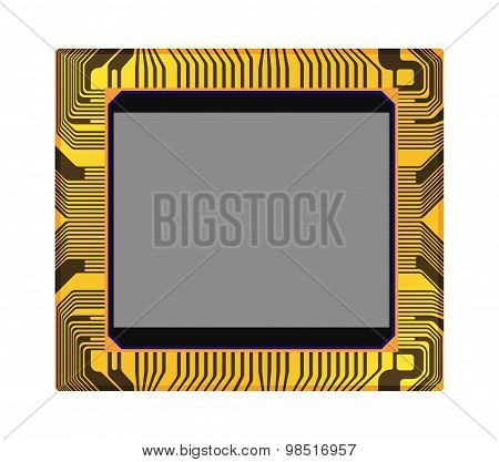 Sensor Of Digital Camera On A White Background, Vector Illustration