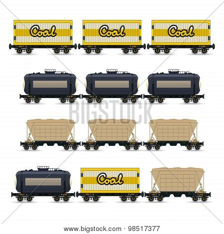 Set of Different Types of Freight Wagon