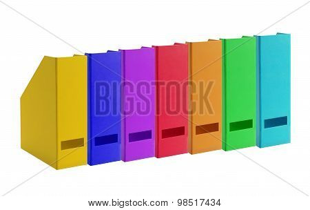 Colorful Office Folders Isolated On White