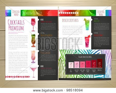 Watercolor Cocktail Concept Design. Corporate Identity. Document Template