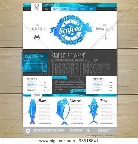 Watercolor Seafood Concept Design. Corporate Identity. Web Site Design
