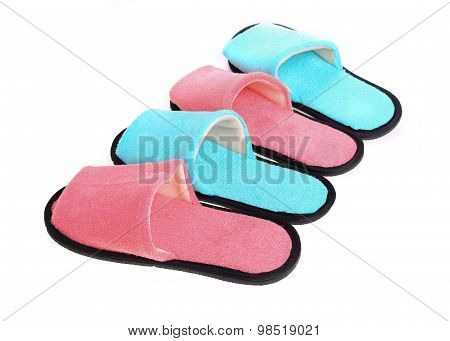 Red And Blue Slippers Footwear Isolated On White Background