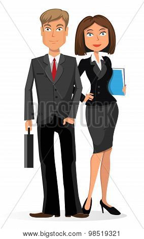 Businessman And Businesswoman On A White Background