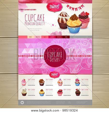 Watercolor Cupcake Dessert Design. Corporate Identity. Web Site Design