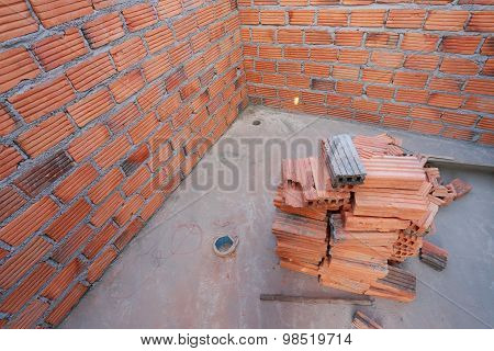 Brick In Residential Building Construction Site