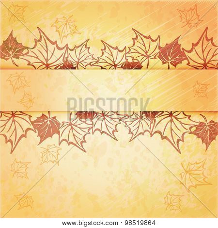 Autumn maple leaf vector frame with copy space on white background. Fall set.