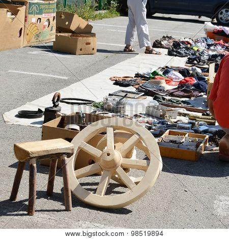 Shopping Secondhand Clothes And Used Household Goods At A Flea M