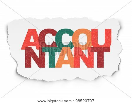 Money concept: Accountant on Torn Paper background