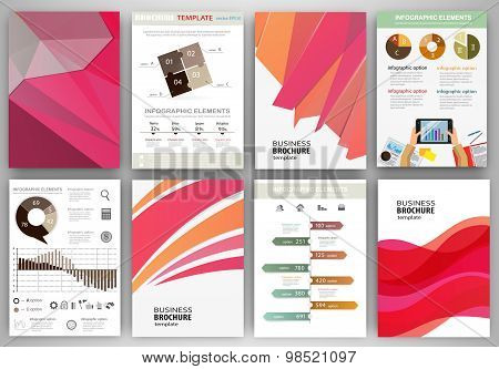 Pink And Orange Backgrounds And Abstract Concept Infographics