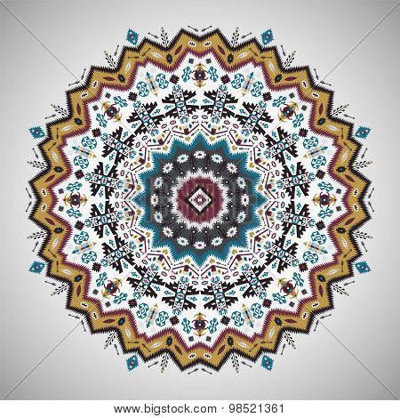 Ornamental roundgeometric pattern in aztec style