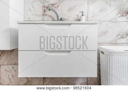 White Sink, Faucet And Closet