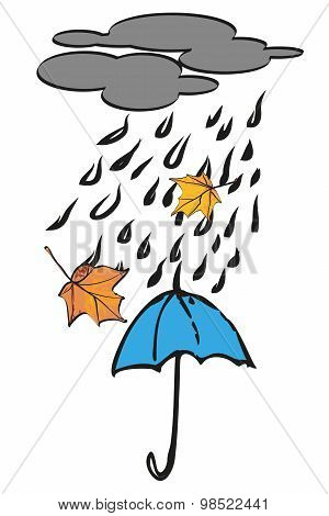 Blue umbrella under autumn rain. Vector illustration.