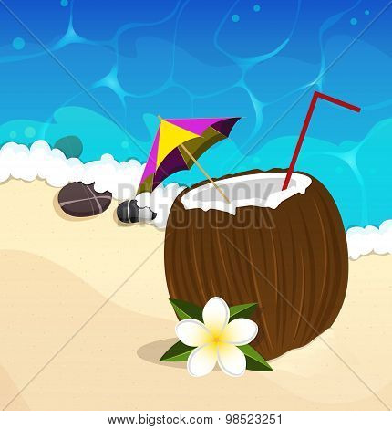 Coconut Cocktail With Straw And Umbrella