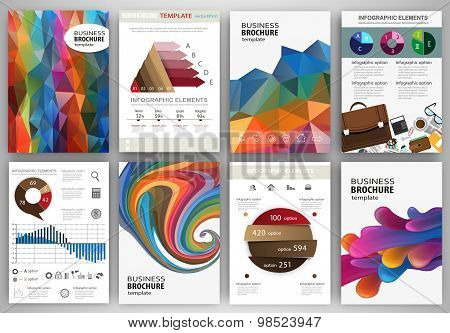 Colorful Polygonal Backgrounds, Abstract Concept Infographics And Icons