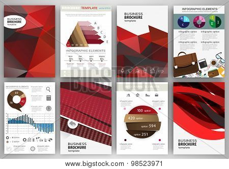 Red Backgrounds, Abstract Concept Infographics And Icons