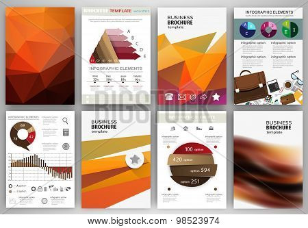 Orange Backgrounds, Abstract Concept Infographics And Icons