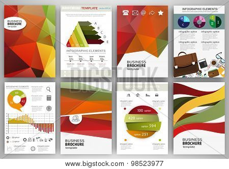 Red, Green, Yellow Backgrounds, Abstract Concept Infographics And Icons