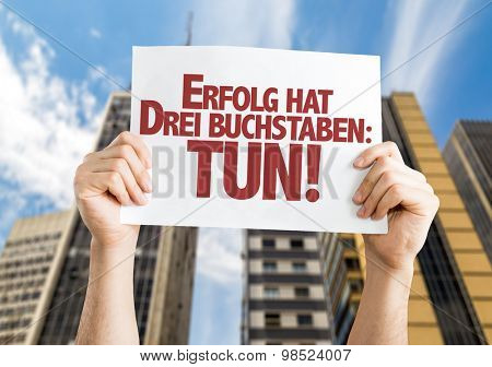 Success Has Three Letters: Do (in German) card with urban background