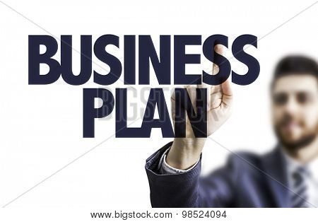 Business man pointing the text: Business Plan