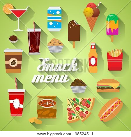 Snack Menu Flat Design Modern Vector Illustration Of Food, Drink, Coffee, Hamburger, Pizza, Beer, Co