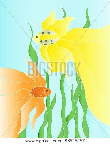 Two Vector Golden Fishes Underwater Illustration