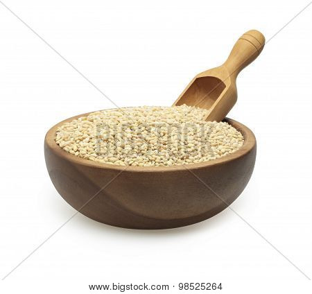 barley groats in a wooden bowl