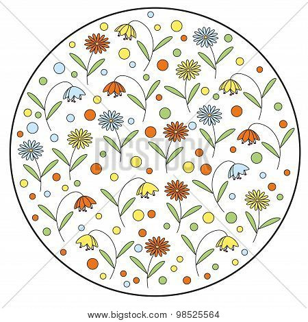 Round vector element with daisy flowers and bellflowers