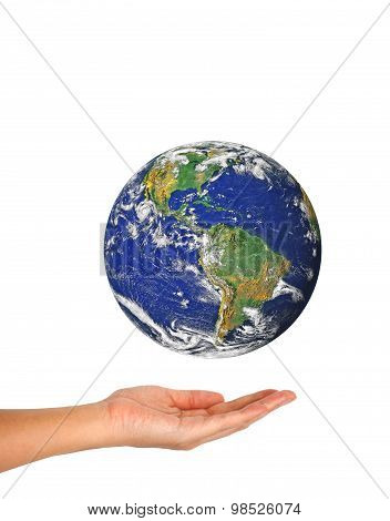 Woman's Hand Holding The Earth