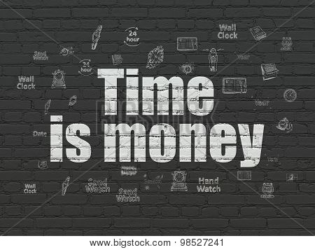 Timeline concept: Time Is money on wall background