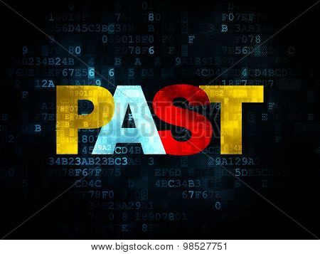 Time concept: Past on Digital background