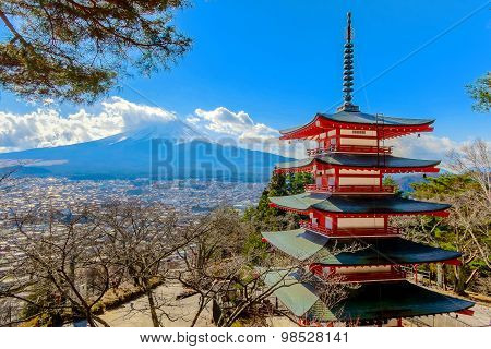 Kawaguchiko, Japan. 13 December 2014 - Chureito Red Pagoda In Winter And Mt. Fuji.