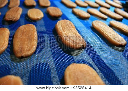 Dried Banana On Blue Mesh