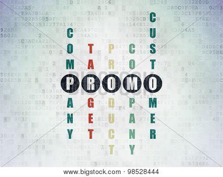 Marketing concept: word Promo in solving Crossword Puzzle