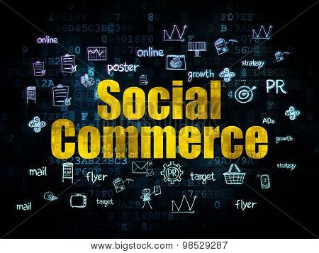 Advertising concept: Social Commerce on Digital background