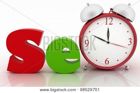 SEO with clock instead of letter. 3d illustration on white background