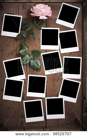 Vintage Polaroid Photo Frame On Wood