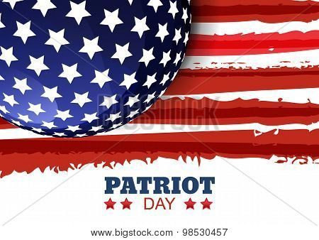 Patriot Day Of Usa Or Independence Day. Vector Abstract Watercolor Grunge Horizontal Background With