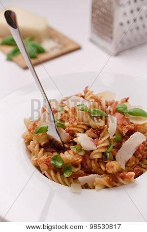 Italian Fusilli Pasta With Tomato Sauce, Basil And Parmesan Cheese