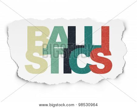 Science concept: Ballistics on Torn Paper background