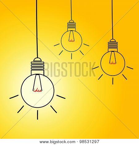 Idea Light Buble Vector On Yellow