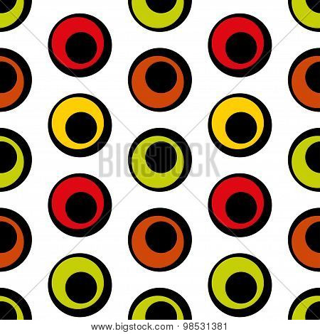 Seamless vector pattern of colored circles in retro style.