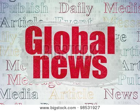 News concept: Global News on Digital Paper background